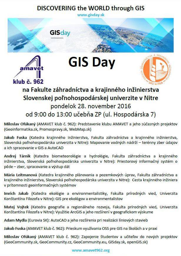 GIS Day 2016 FZKI SPU v Nitre