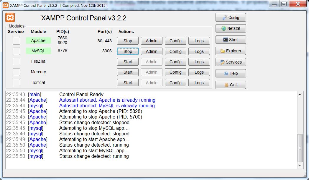 Inštalácia XAMPP - Control Panel