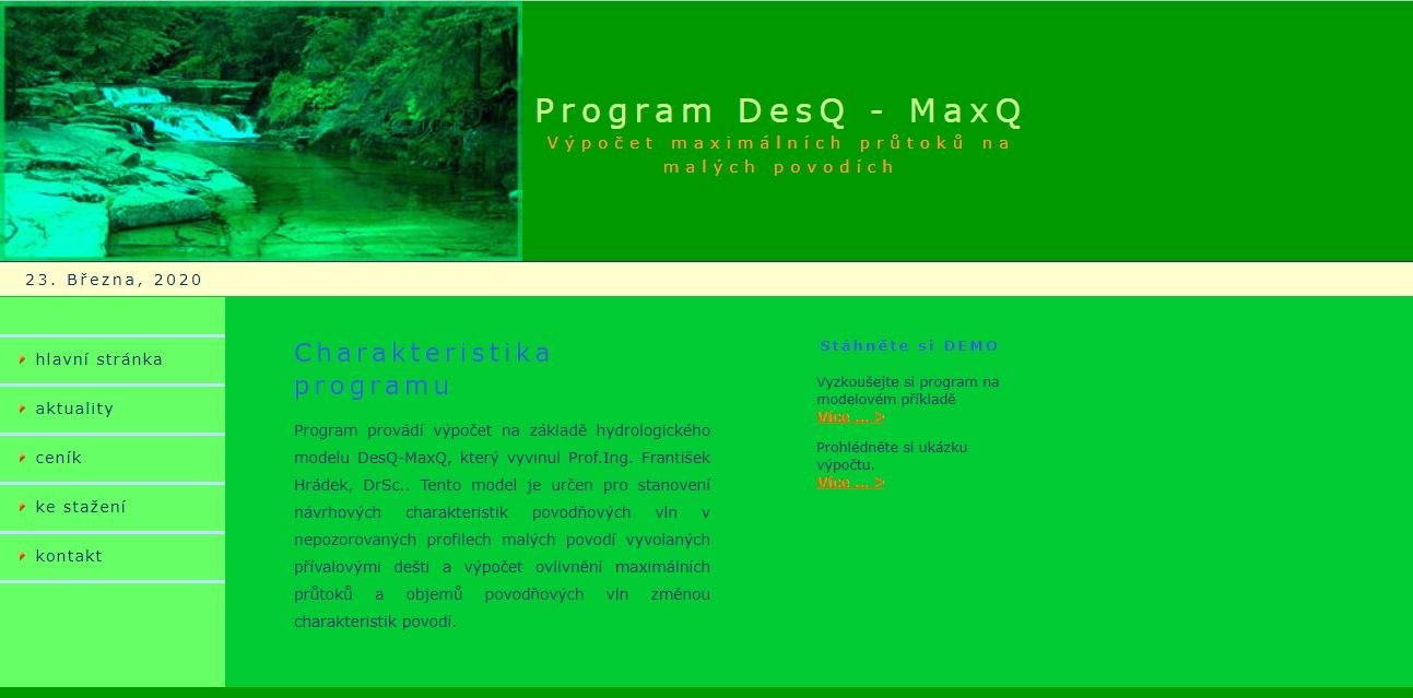 Hydrologický model/softvér DesQ-MaxQ
