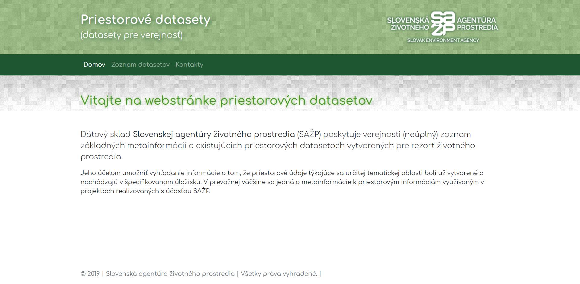 Dátový sklad Slovenskej agentúry životného prostredia