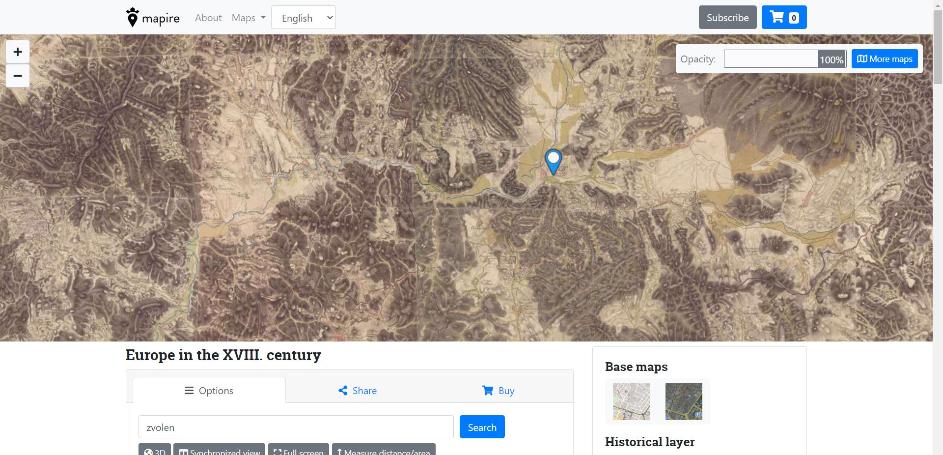 Historické a iné mapy Slovenska a Európy