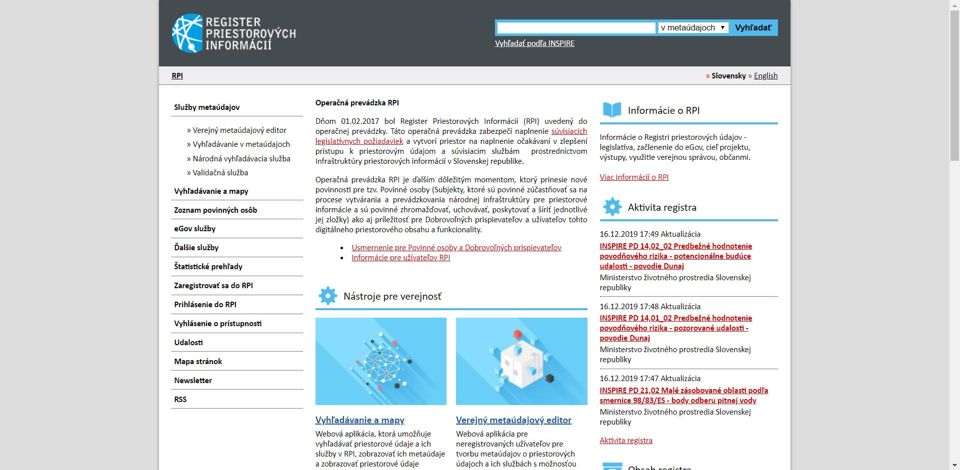 Register priestorových informácií
