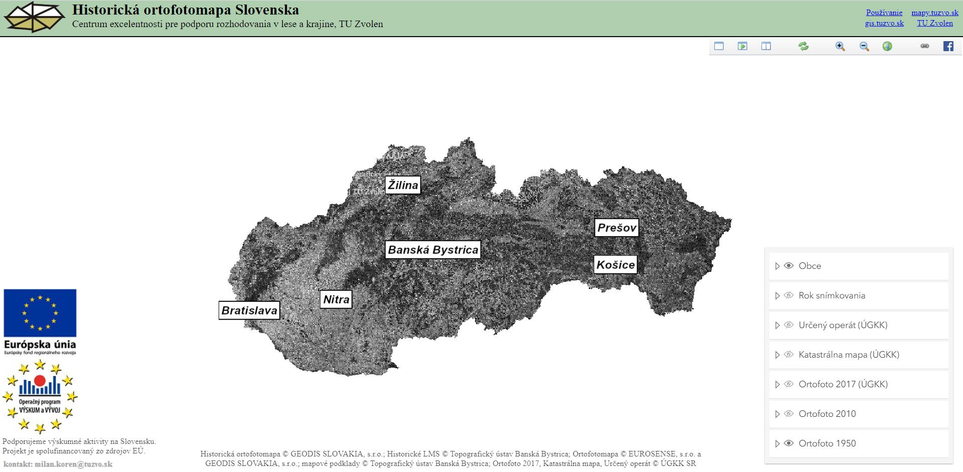 Historická ortofotomapa Slovenska