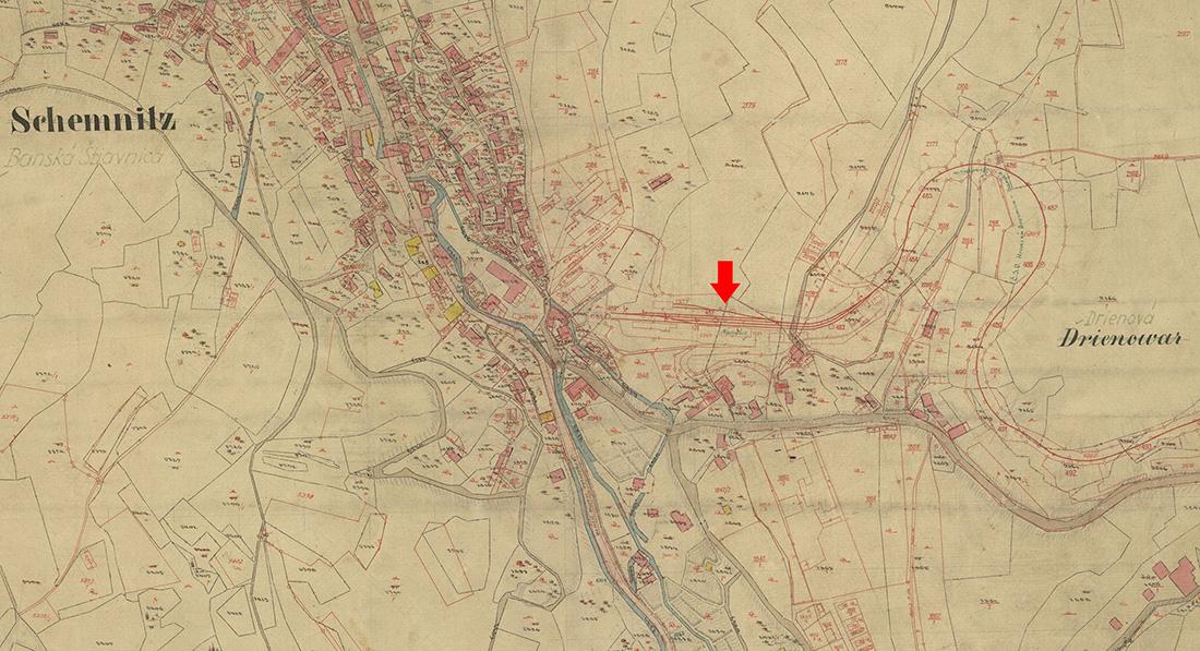 Výrez zo starej katastrálnej mapy
