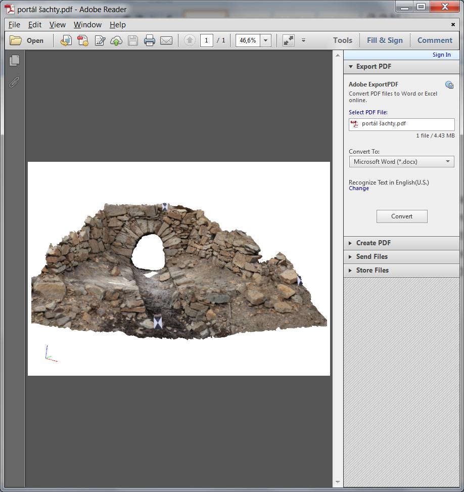 Ukážka zobrazenia interaktívneho 3D modelu v PDF (Adobe Reader)