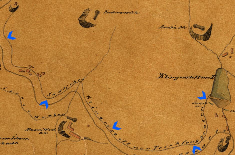 Plán vodohospodárskeho systému - historická mapa