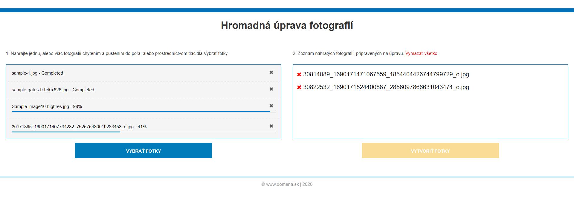 Webová služba pre hromadnú úpravu fotografií