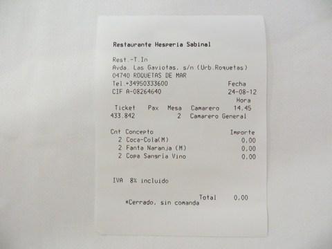 Hotel Hesperia Sabinal - nulový účet