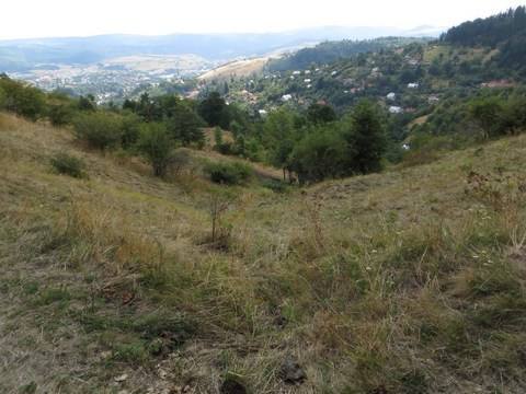 Ukončenie náhonného jarku a dolina pod ním